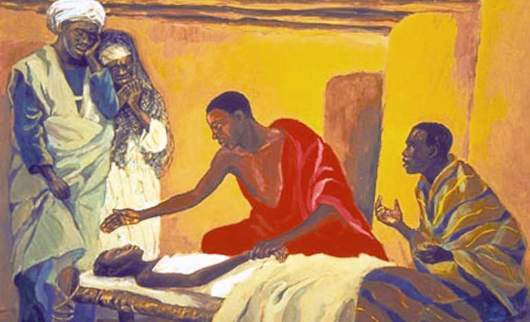 """Healing of the Daughter of Jairus"" by a Cameroonian artist"
